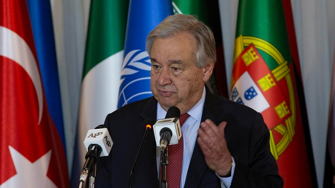 U.N. Secretary-General Antonio Guterres addresses a news conference with Pakistani Foreign Minister Shah Mahmood Qureshi at the Foreign Ministry in Islamabad, Pakistan. (AP)
