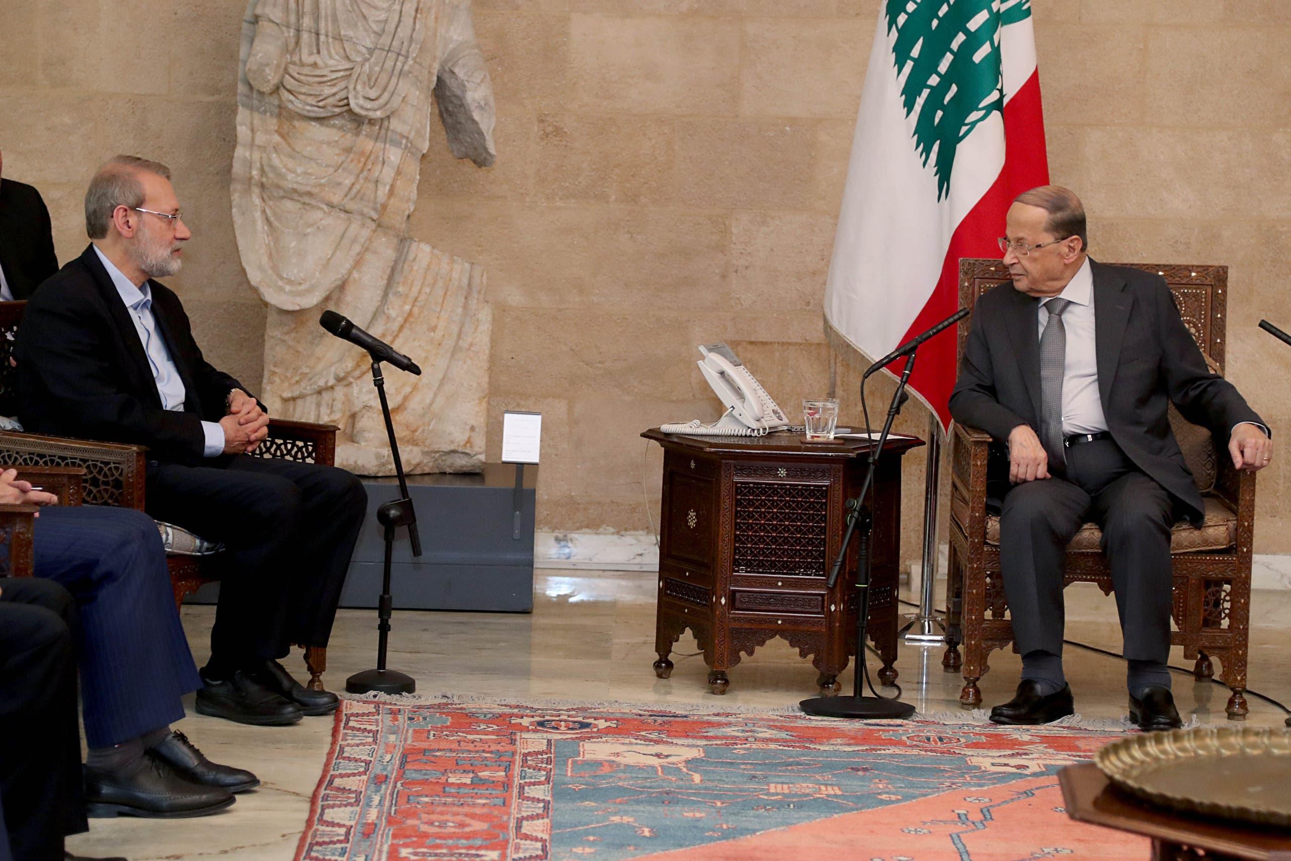 Aoun Larijani - Lebanese Presidency Twitter.jpeg