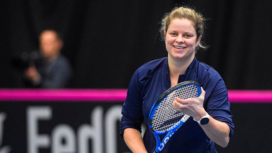 Belgian tennis player Kim Clijsters attends a training session. (AFP)