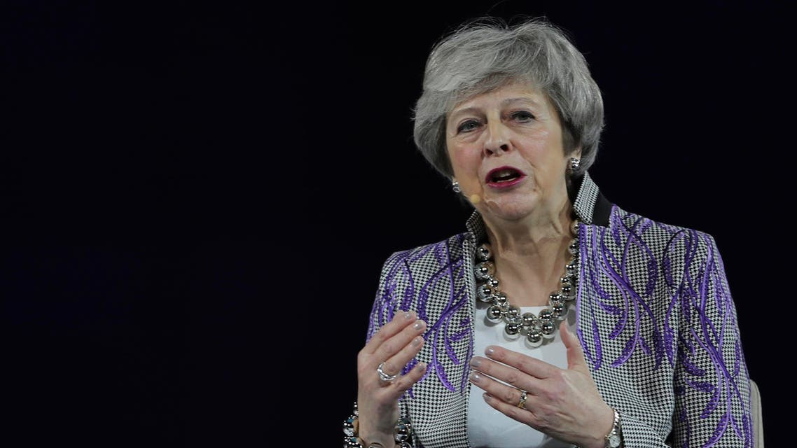 Former British Prime Minister Theresa May speaks at the Global Women's Forum in Dubai on Feb. 17, 2020. (AP)