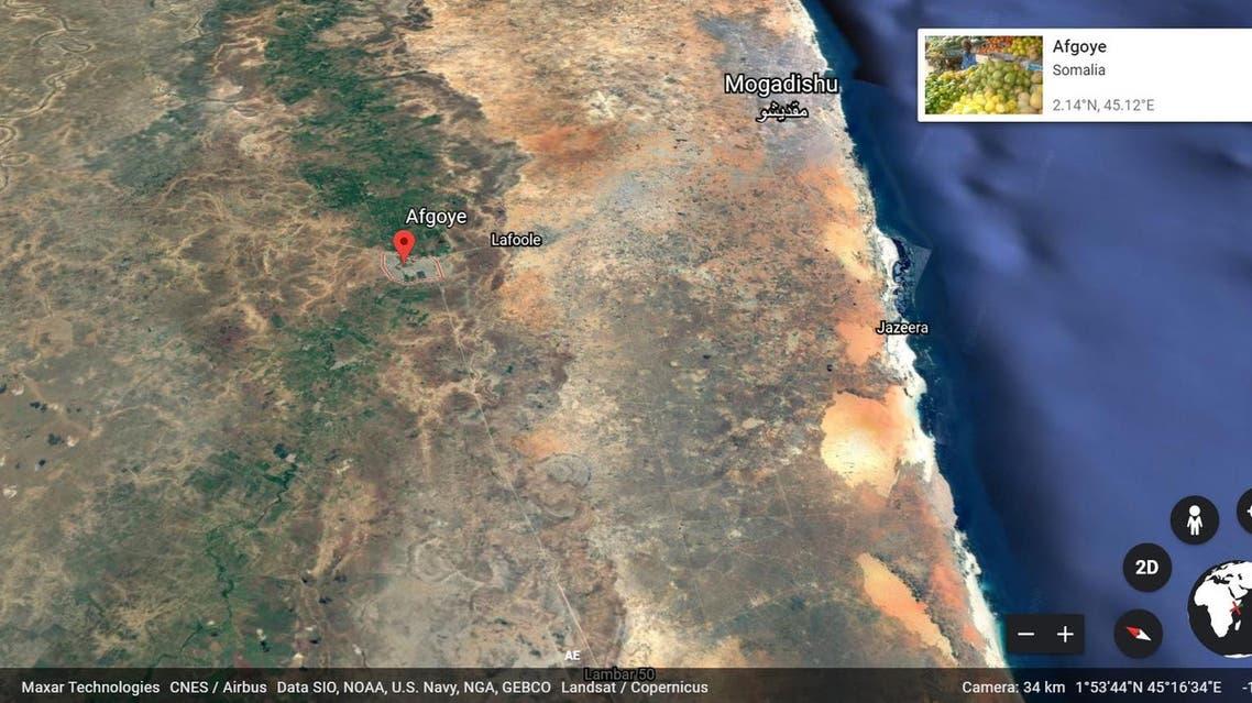 Somalia's Afgooye district google earth