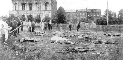 صورة لجثث عدد من ضحايا التشيكا