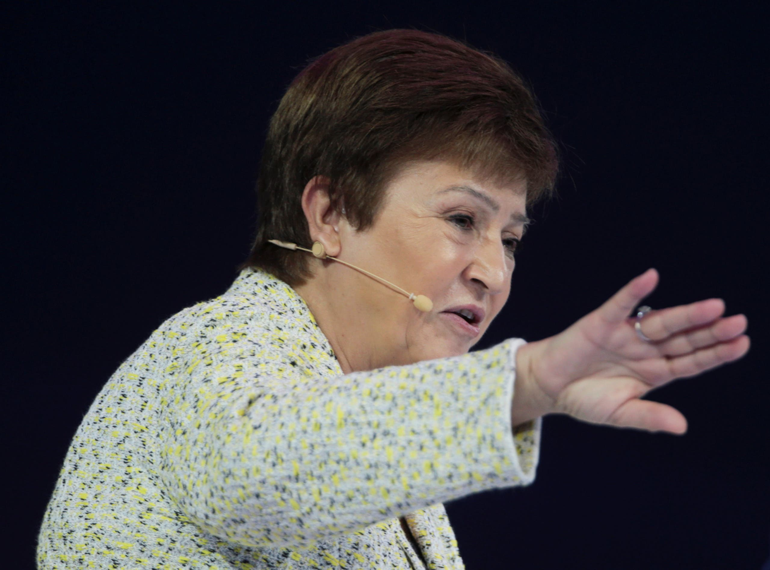 IMF Managing Director Kristalina Georgieva speaks at the Global Women's Forum in Dubai, on February 16, 2020. (Reuters)
