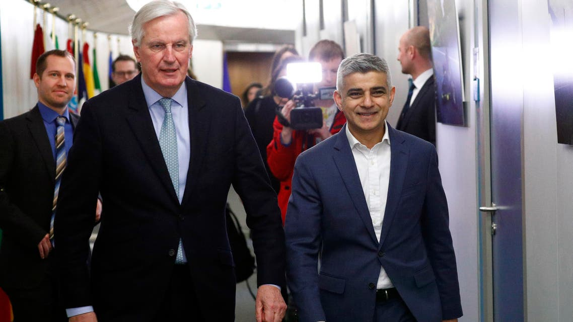 Michel Barnier, European Commission's Head of Task Force for Relations with the United Kingdom (L) walks next to Mayor of London Sadiq Khan at the EU Commission headquarters in Brussels, Belgium, on February 18, 2020.