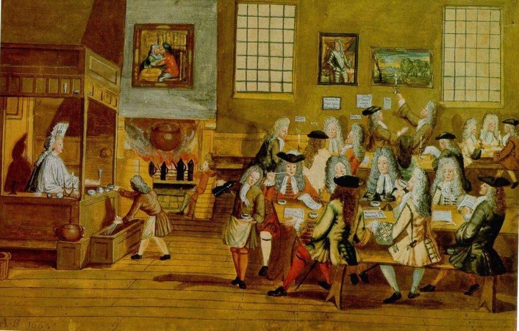 نقاشی قهوهخانهای در بریتانیا در قرن 18