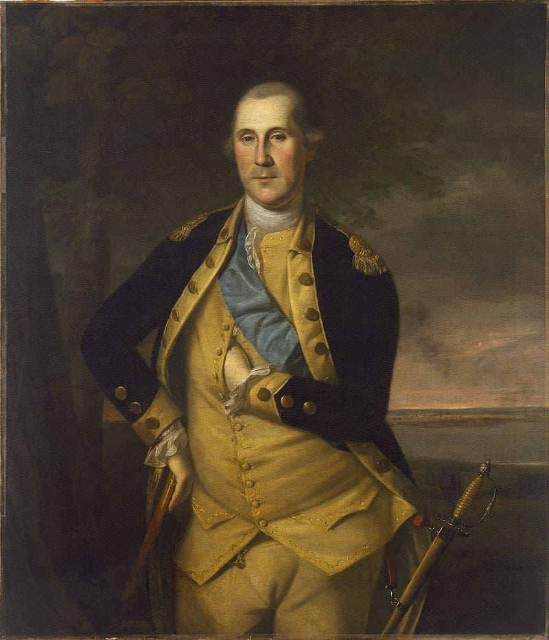 لوحة رسمت عام 1776 تجسد جورج واشنطن كقائد للجيش القاري