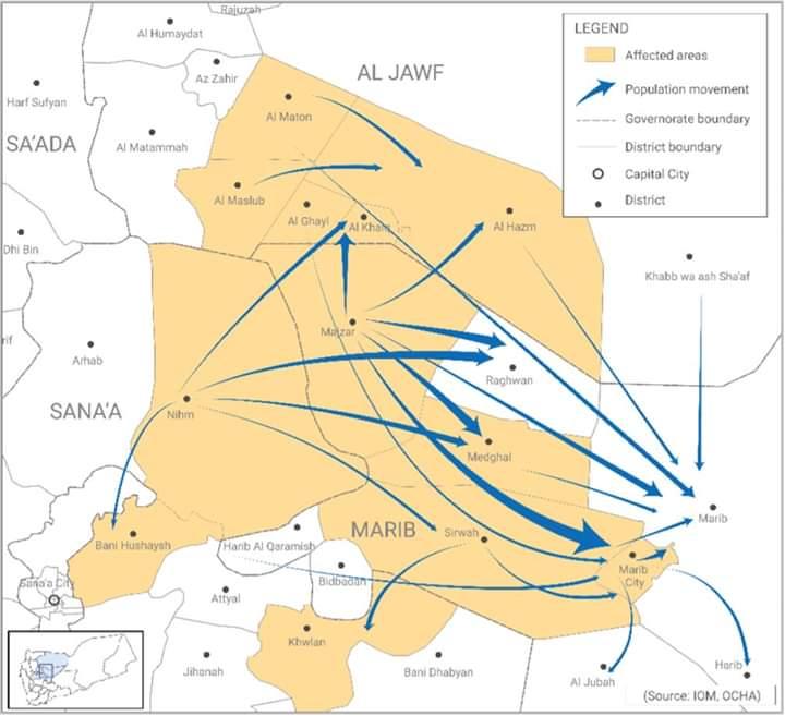 خريطة تبين حركة نزوح اليمنيين