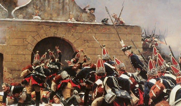 رسم تخيلي لإحدى المعارك بحرب السبعة سنوات