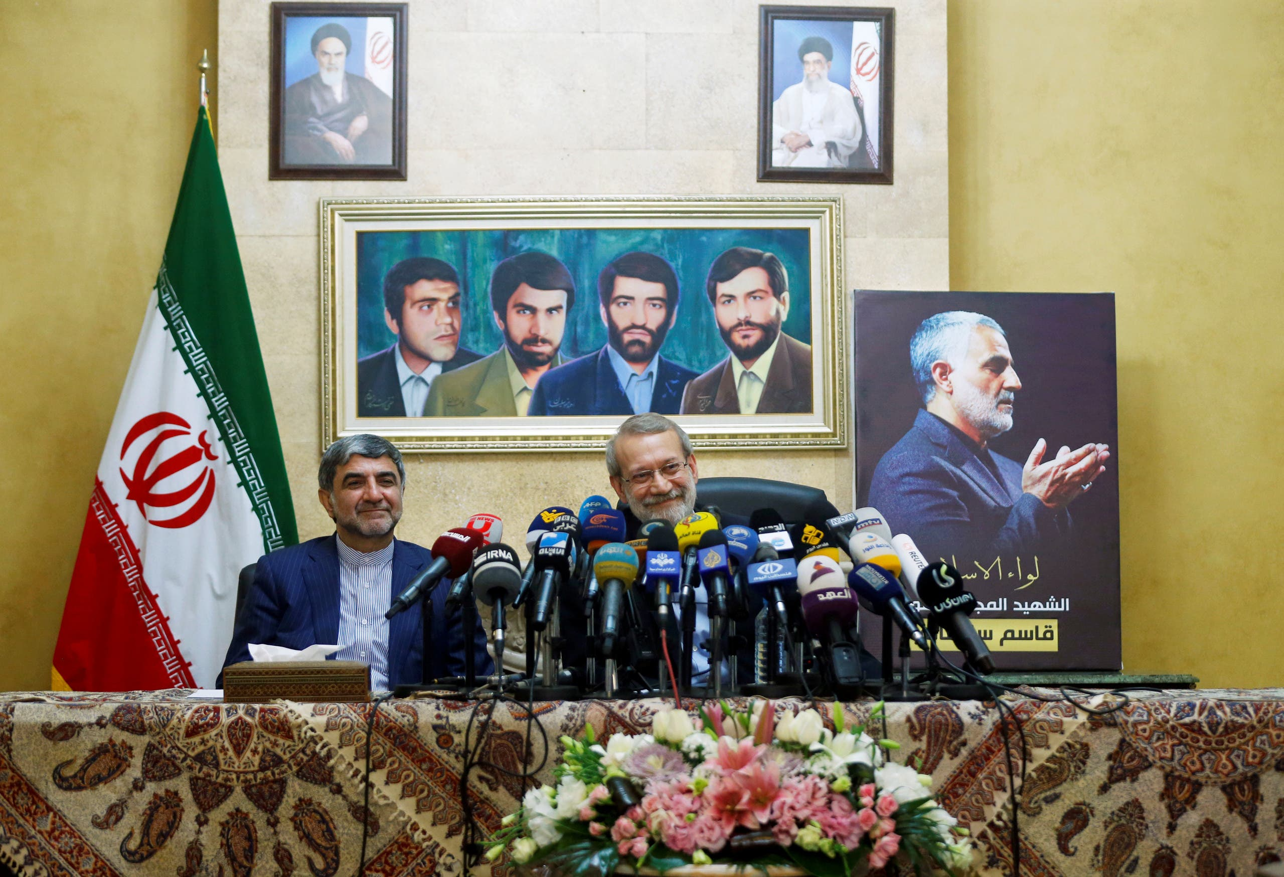 Iranian parliament speaker Ali Larijani attends a news conference at the Iranian embassy in Beirut's southern suburbs, Lebanon. (Reuters)