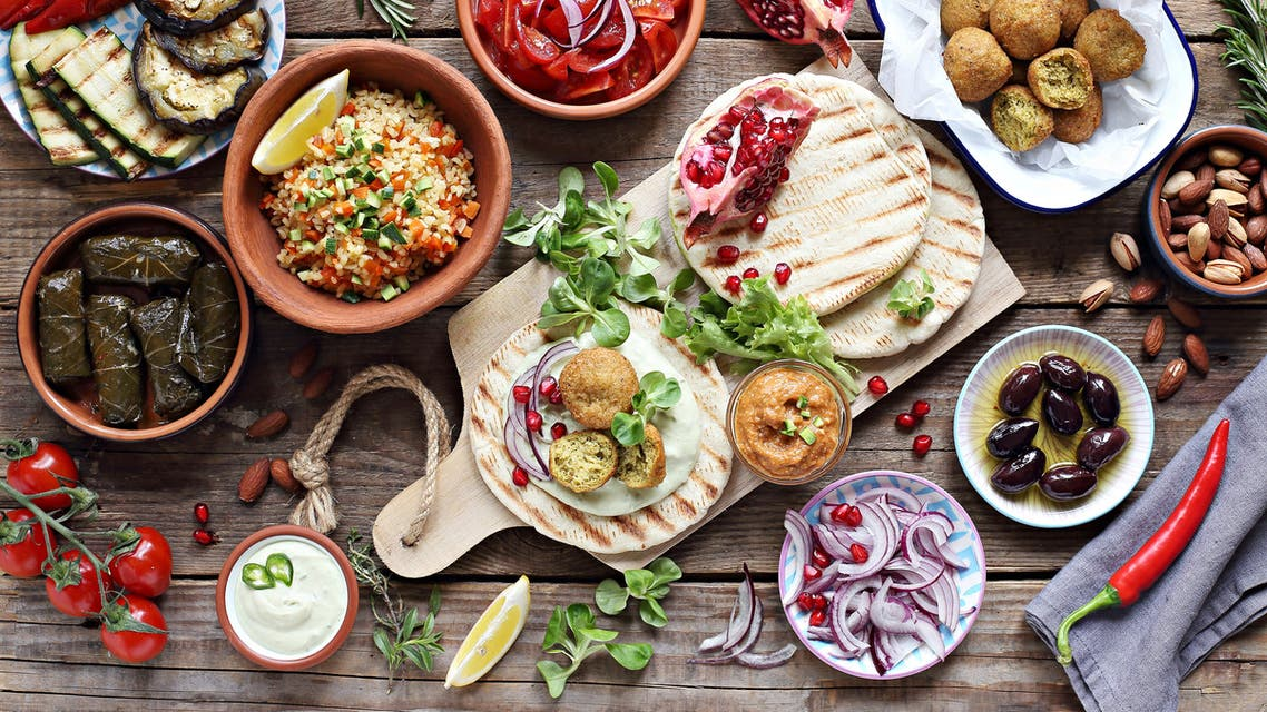 Middle eastern, arabic or mediterranean appetizers table concept stock photo