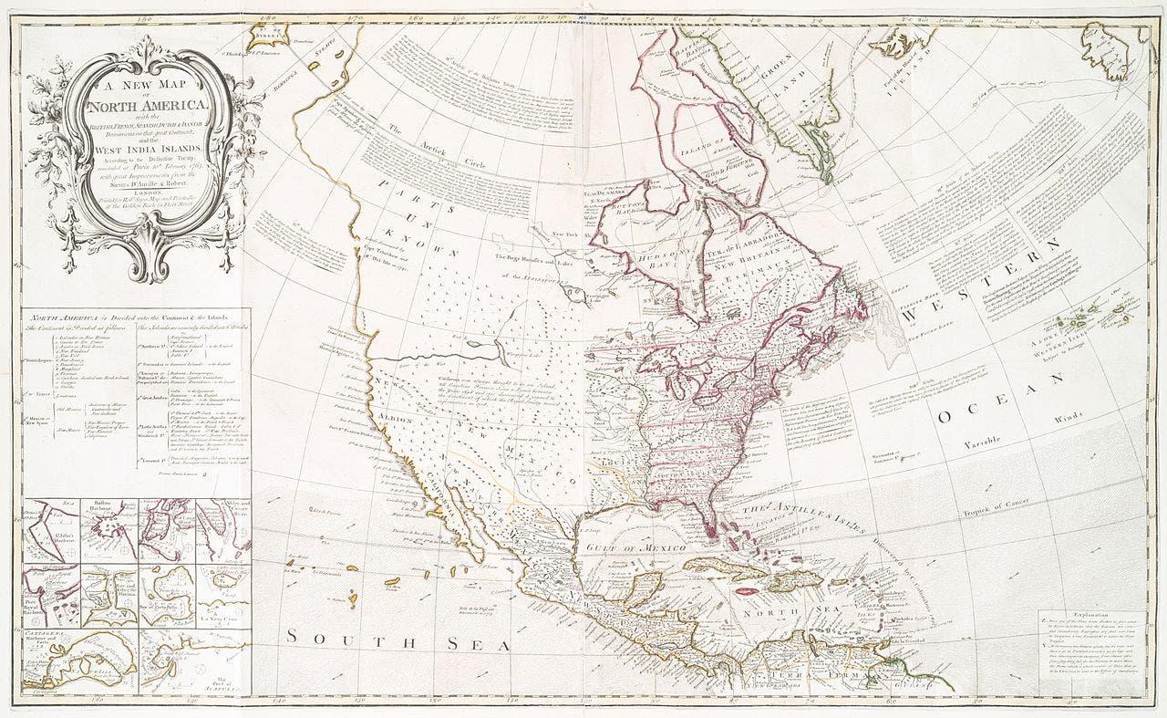 خريطة القارة الأميركية وتقسيمها عقب توقيع معاهدة 1763