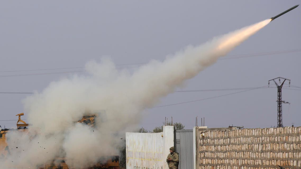 Turkish soldiers fire a missile at Syrian government position in the province of Idlib on Feb. 14, 2020. (AP)