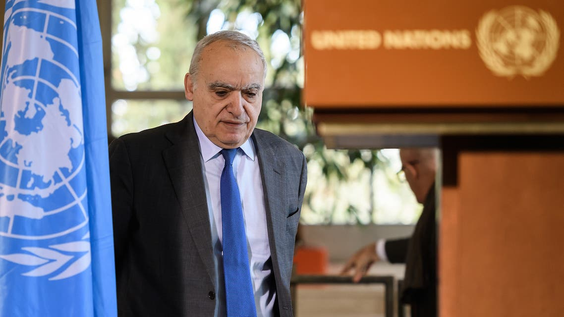 UN Envoy for Libya Ghassan Salame hold a press briefing during UN-brokered military talks on February 18, 2020 in Geneva.