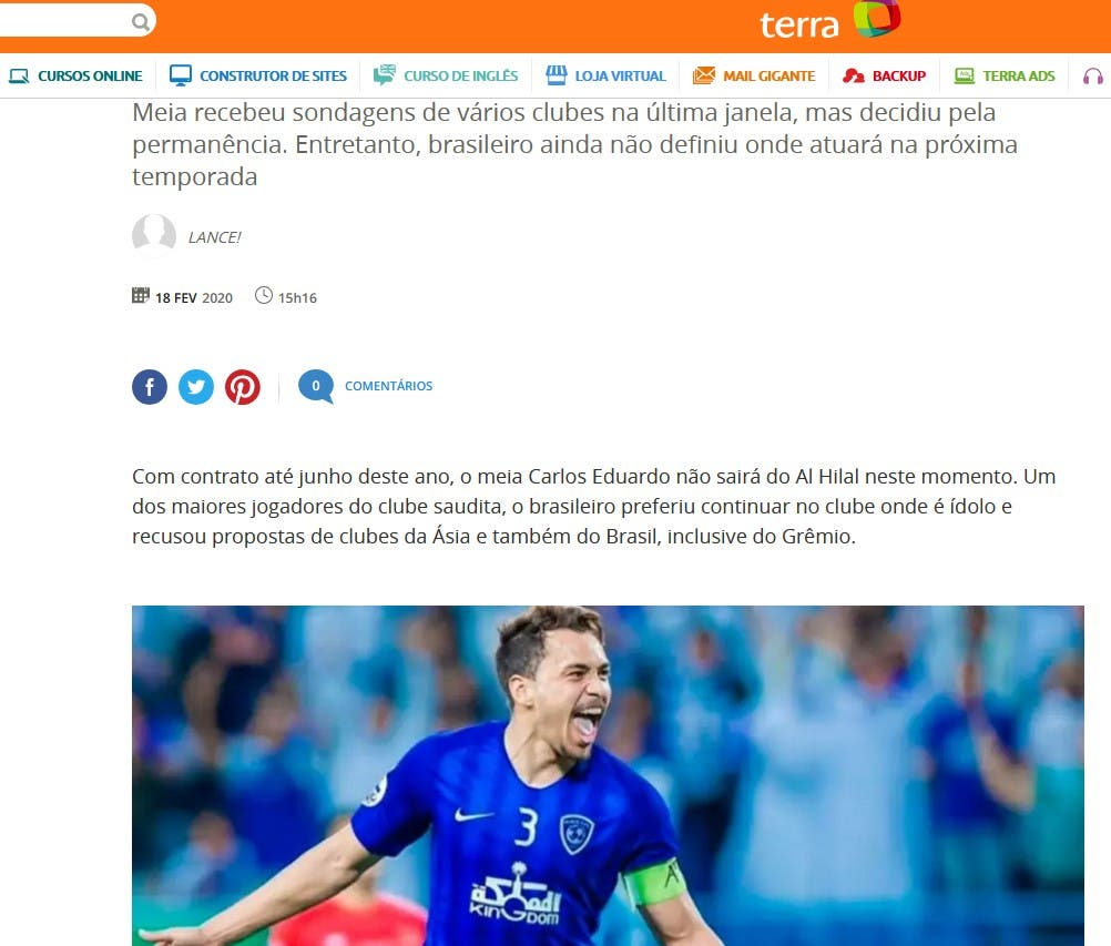 تصريح وكيل أعمال إدواردو في الصحيفة البرازيلية