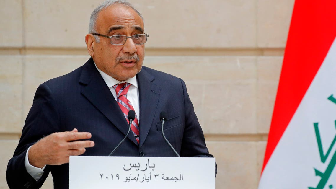 Iraq's Prime Minister Adel Abdul Mahdi speaks during a joint statement with French President at the Elysee Palace in Paris, on May 3, 2019.