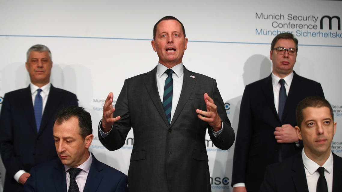 U.S. ambassador to Germany Richard Grenell, Kosovo's President Hashim Thaci and Serbia's President Aleksandar Vucic attend the Munich Security Conference in Munich, Germany. (Reuters
