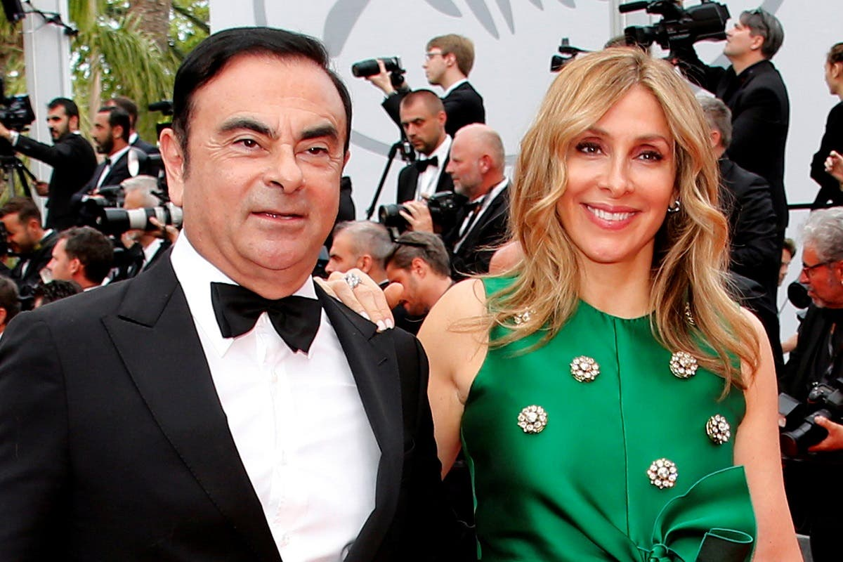 Carlos Ghosn, former Chairman and CEO of the Renault-Nissan Alliance, and his wife Carole pose at the Cannes Film Festival in 2017. (File photo: Reuters)