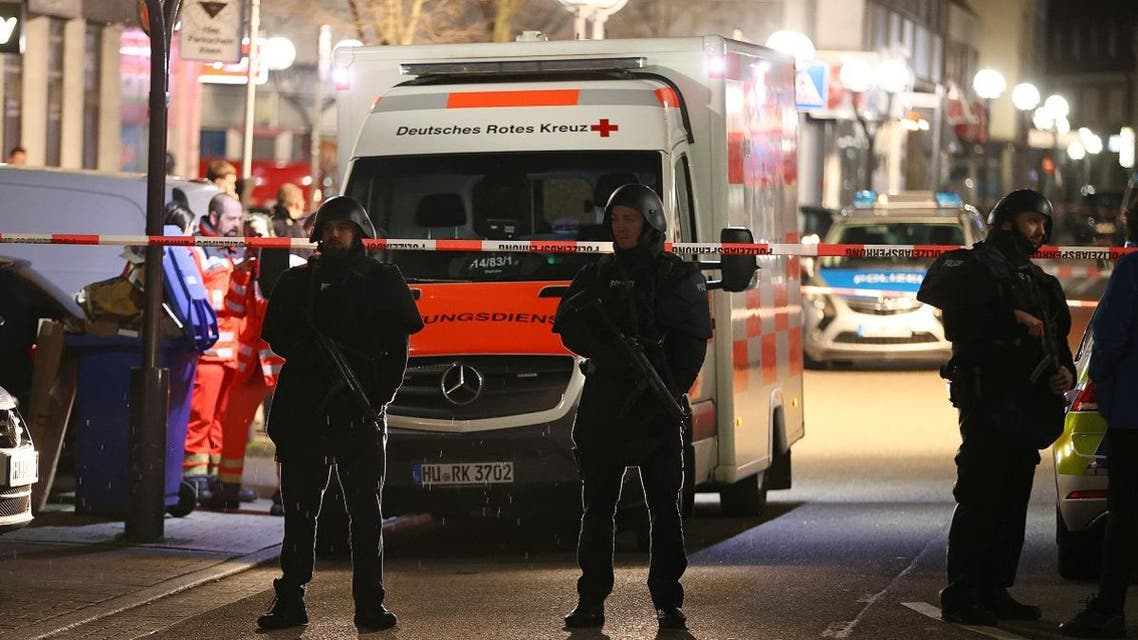 Police officers secure an area after a shooting in Hanau near Frankfurt, Germany, on February 20, 2020. (Reuters)