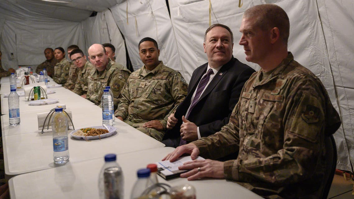 U.S. Secretary of State Mike Pompeo shares lunch at the mess with members of the military as he visits the Prince Sultan air base in Al-Kharj, Saudi Arabia February 20, 2020. Andrew Caballero-Reynolds/Pool via REUTERS