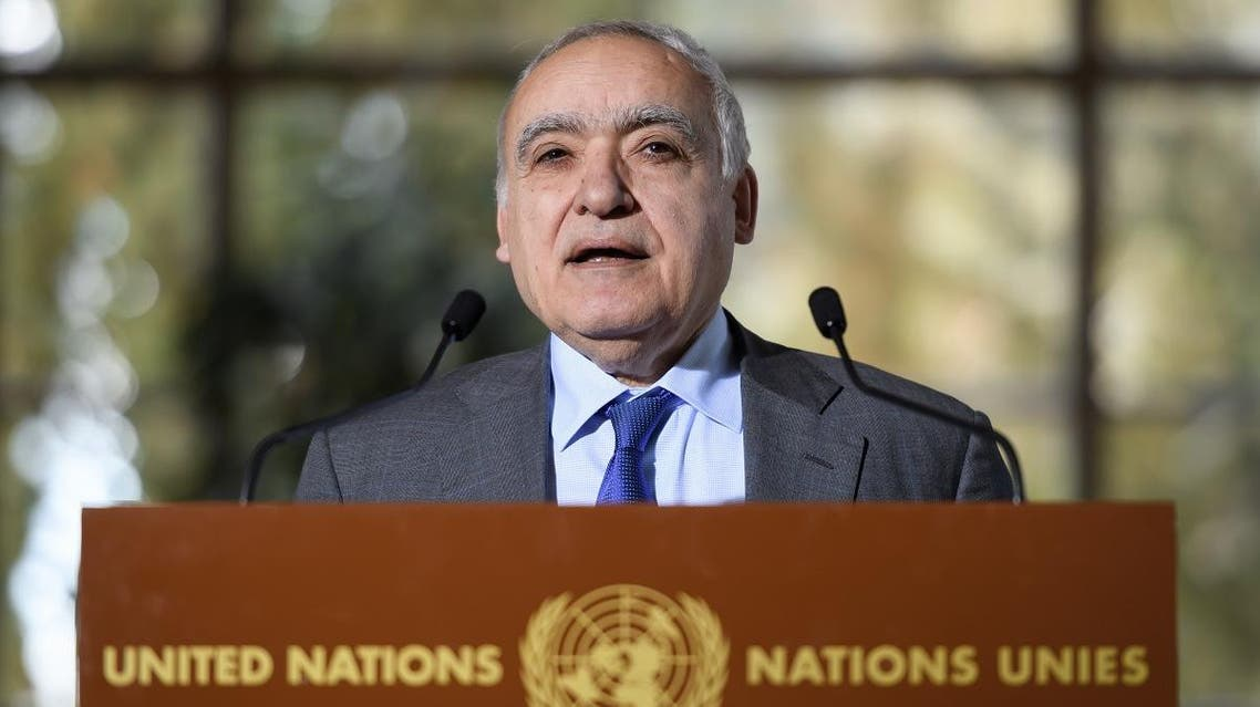 UN Envoy for Libya Ghassan Salame holds a press briefing during UN-brokered military talks. (AFP)