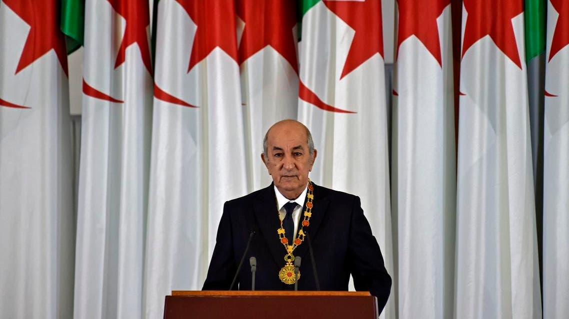 Algerian President Abdelmadjid Tebboune gives an address during the formal swearing-in ceremony in the capital Algiers on December 19, 2019. (AFP)