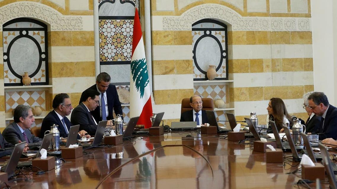 Lebanon's President Michel Aoun heads a cabinet meeting at the presidential palace in Baabda, Lebanon February 13, 2020. (Reuters)