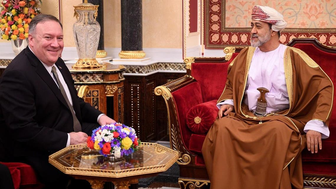US Secretary of State Mike Pompeo meets with Oman's Sultan Haitham bin Tariq at al-Alam palace in Muscat, Oman. (Reuters)