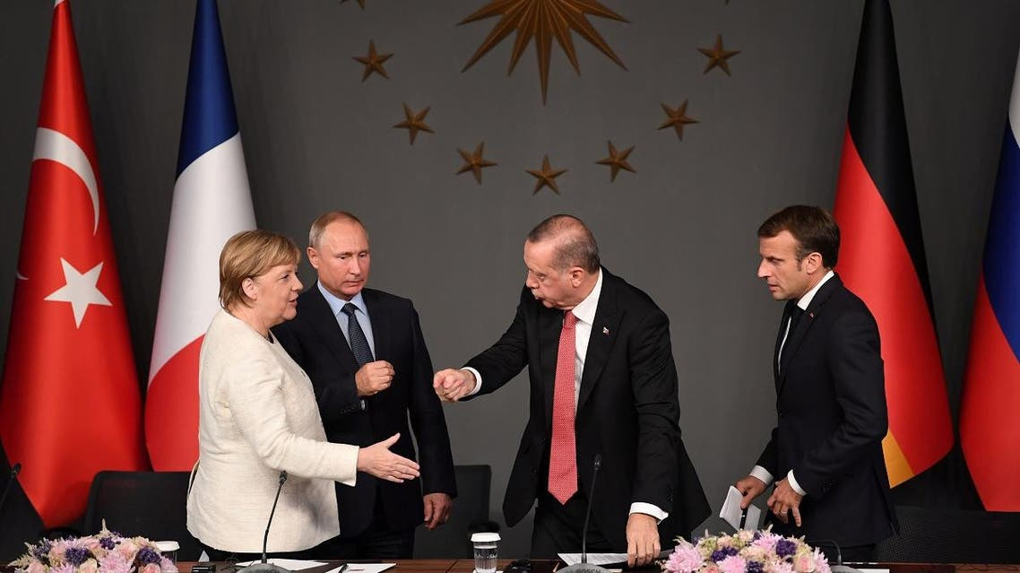 (From L) The leaders of Germany, Russia, Turkey and France leave during a summit on Syria at Vahdettin Mansion in Istanbul, on October 27, 2018. (File photo: AFP)