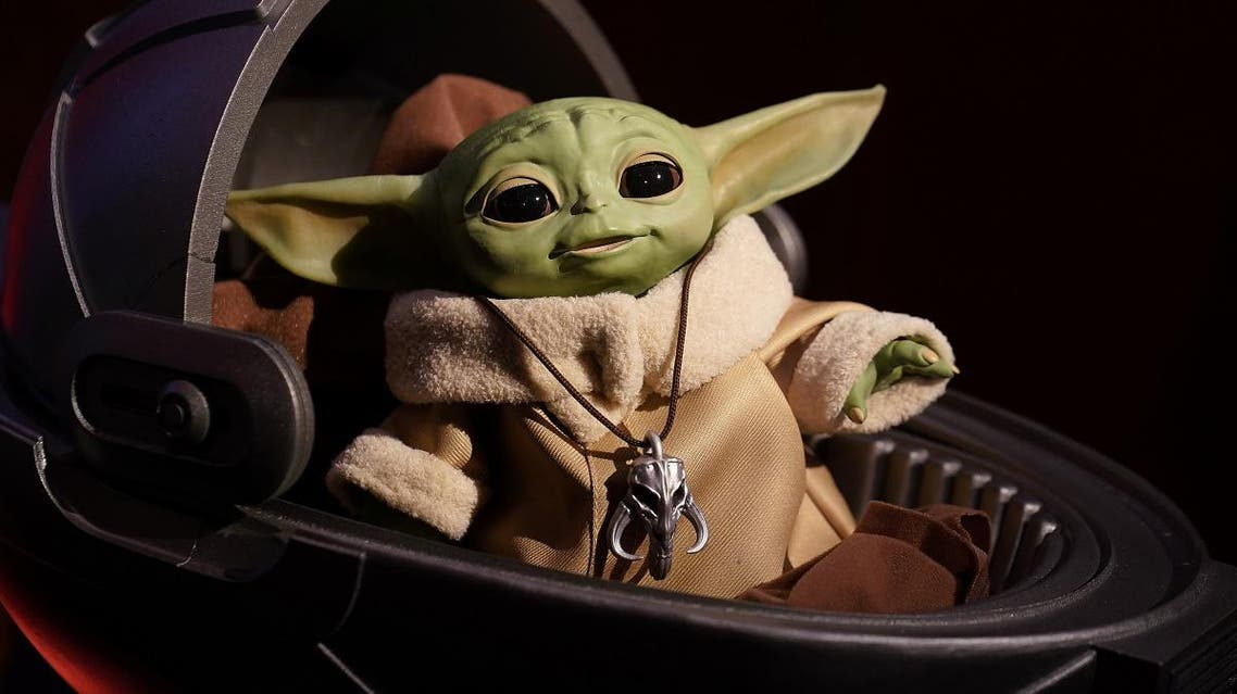 """An animatronic Baby Yoda toy is pictured during a """"Star Wars"""" advance product showcase in the Manhattan borough of New York City, New York, US, February 20, 2020. (Reuters)"""