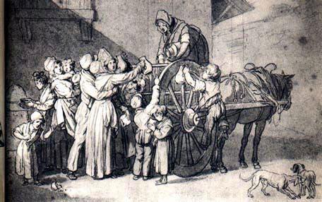 رسم تخيلي لعملية توزيع الغذاء بفرنسا سنة 1709