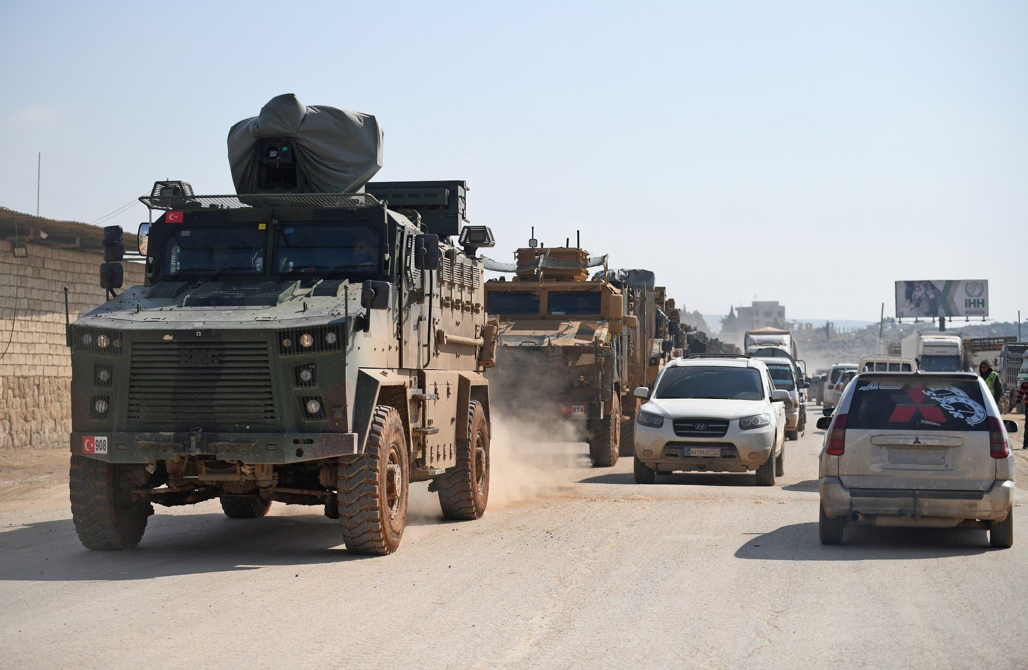 قافلة عسكرية تركية يوم 17 فبراير
