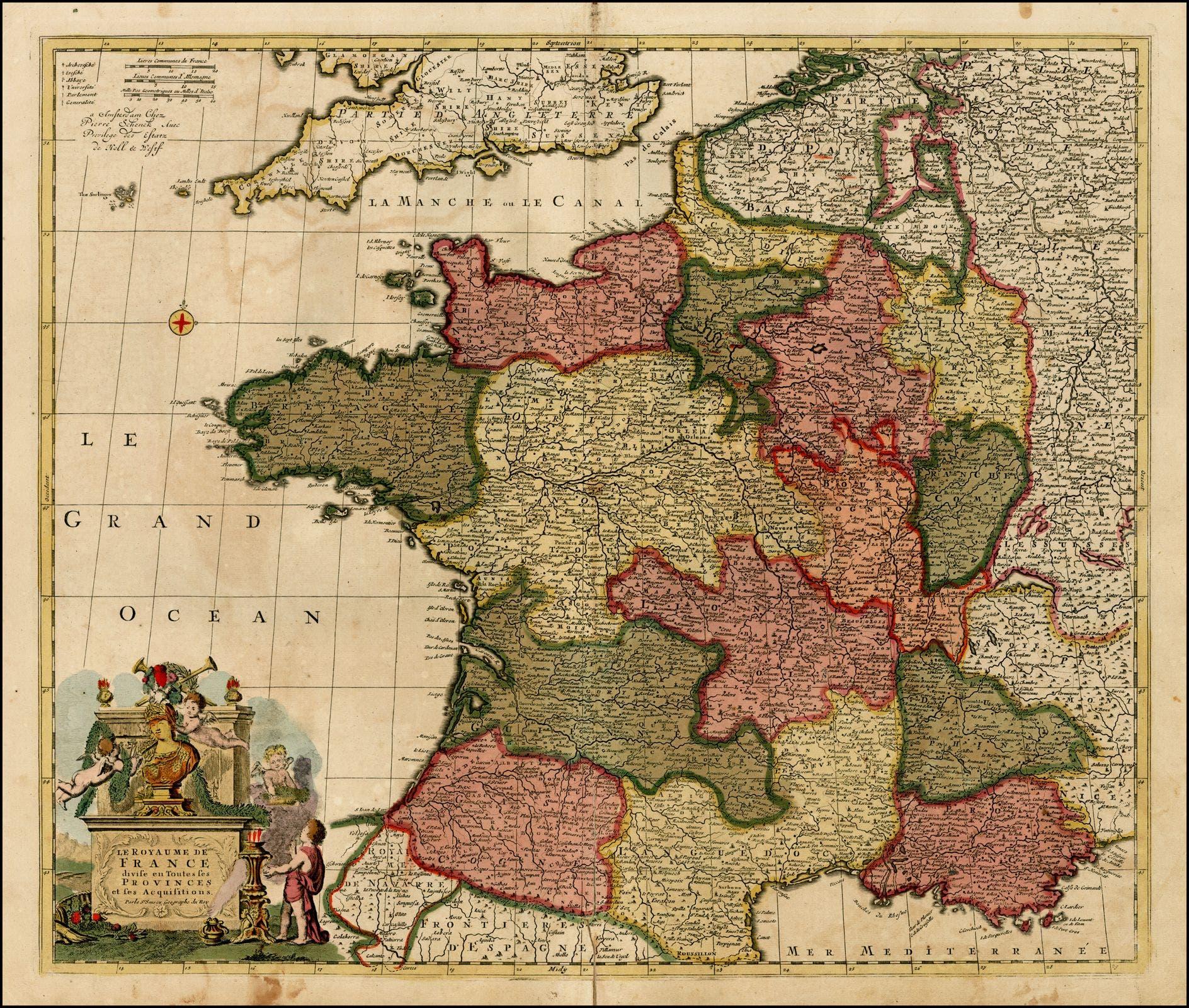 خريطة فرنسا بالقرن 18