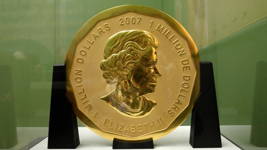 Picture taken on December 8, 2010 shows the gold coin Big Maple Leaf on display at Berlin's Bode Museum. (AFP)