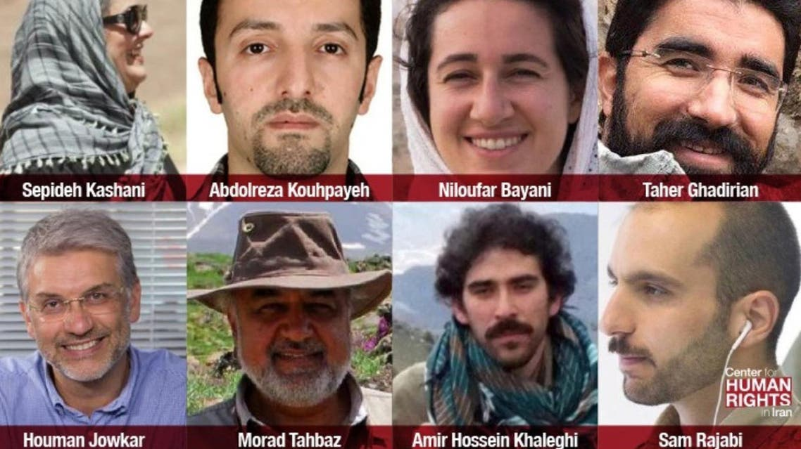 The eight Iranian environmentalist activists currently in prison. (Twitter)