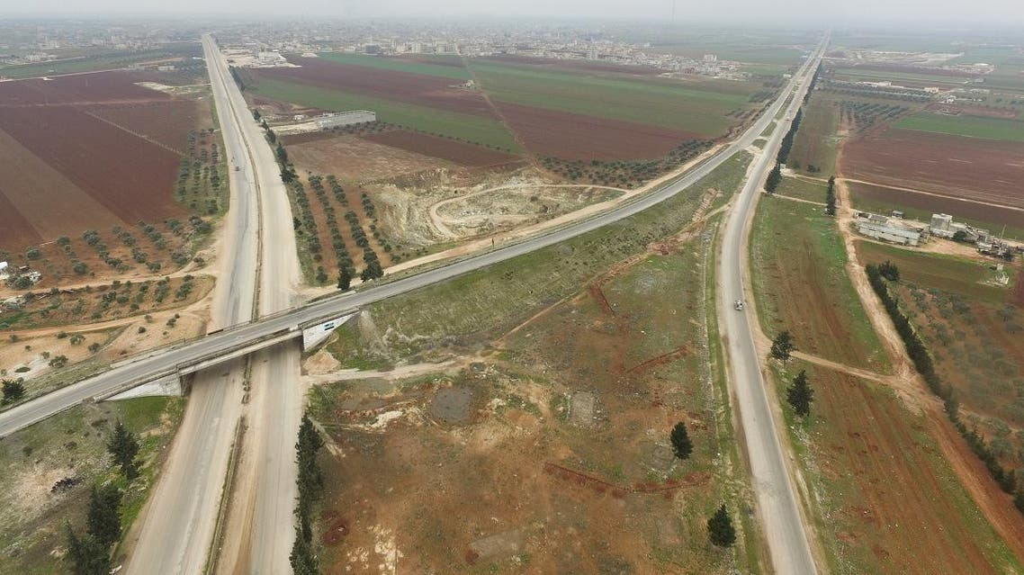An aerial picture taken on January 29, 2020, shows the instersection of the M4 and M5 international highways that go through Saraqeb in Syria's northwestern province of Idlib. (AFP)