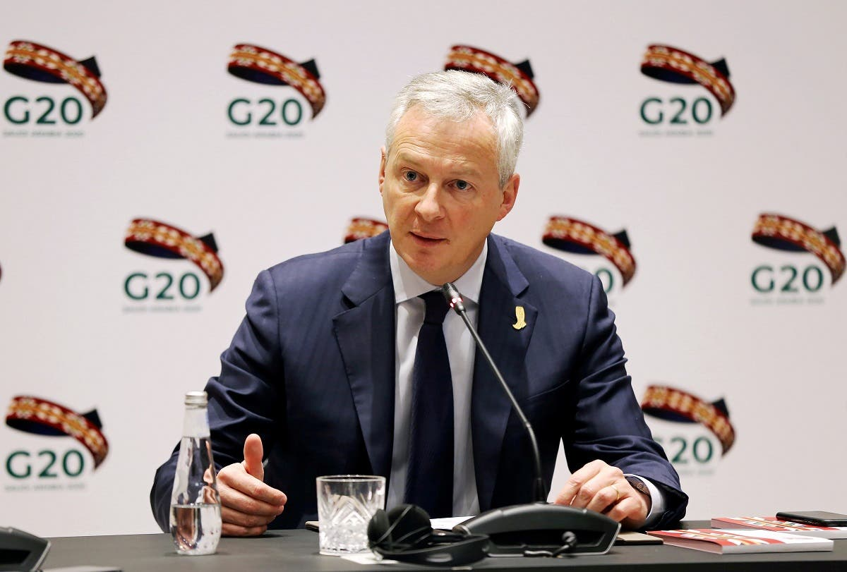 French Finance and Economy Minister Bruno Le Maire speaks during the G20 finance ministers and central bank governors meeting in Riyadh, Saudi Arabia, February 22, 2020. (Reuters)