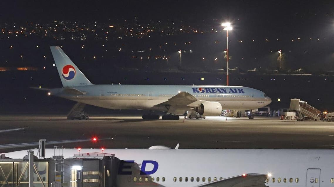 A Korean airplane which arrived from South Korea is pictured after landing at Ben Gurion International Airport on February 22, 2020. (AFP)