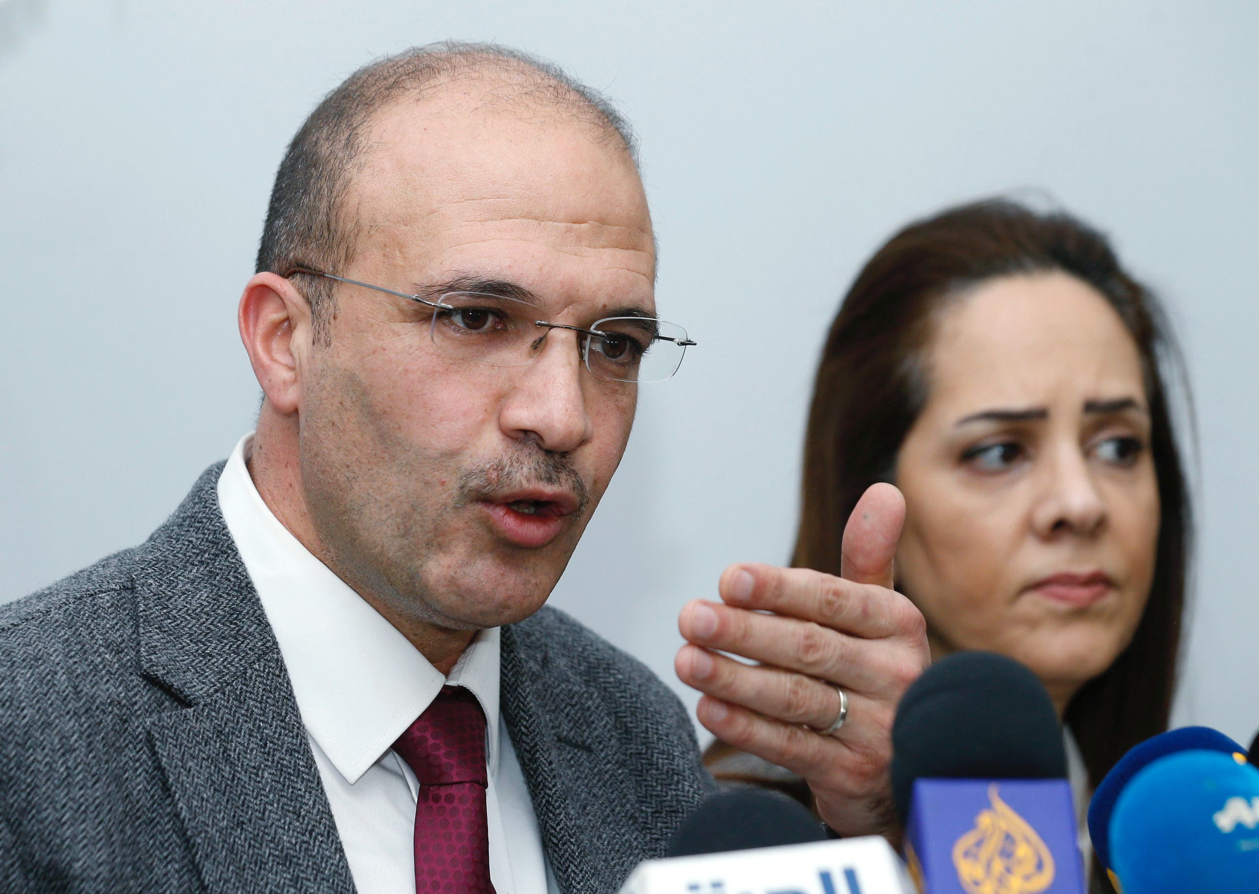 Lebanon's Minister of Health, Hamad Hasan and Iman Shankiti, WHO representative in Lebanon, attend a news conference, after the country's first case of the novel coronavirus was confirmed, in Beirut, Lebanon February 21, 2020.  (Reuters)