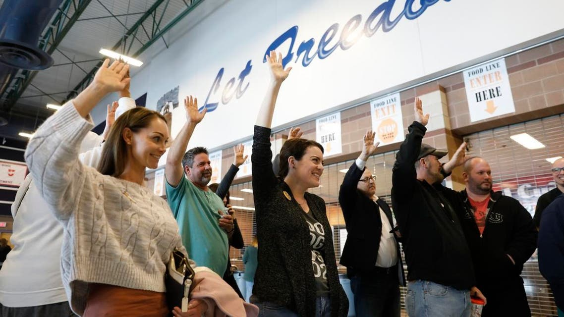 Nevada voters indicate their support for Democratic presidential candidate Pete Buttigieg during voting in Henderson. (Reuters)