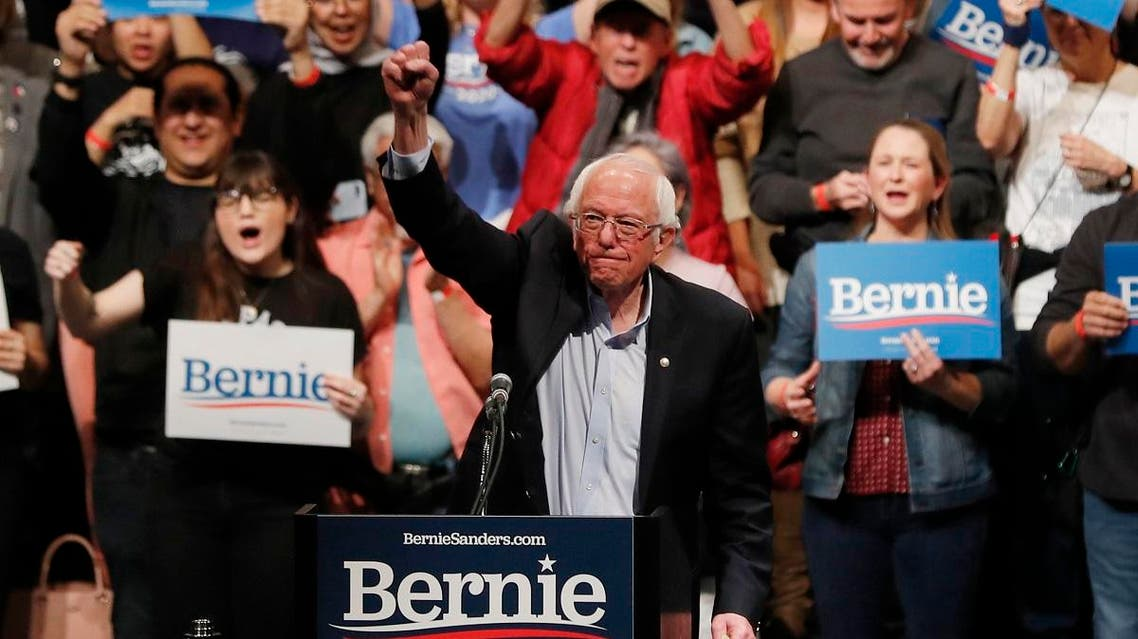 U.S. Democratic presidential candidate Senator Bernie Sanders thrusts his fist in the air during his first campaign rally after the Nevada Caucus in the Abraham Chavez Theatre in El Paso, Texas. (Reuters)