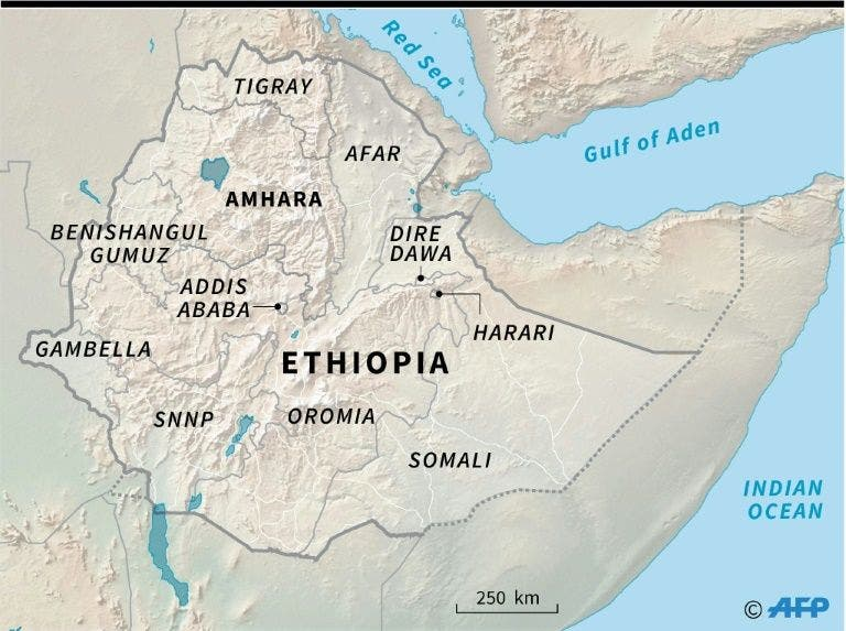 AFP map of Ethiopia