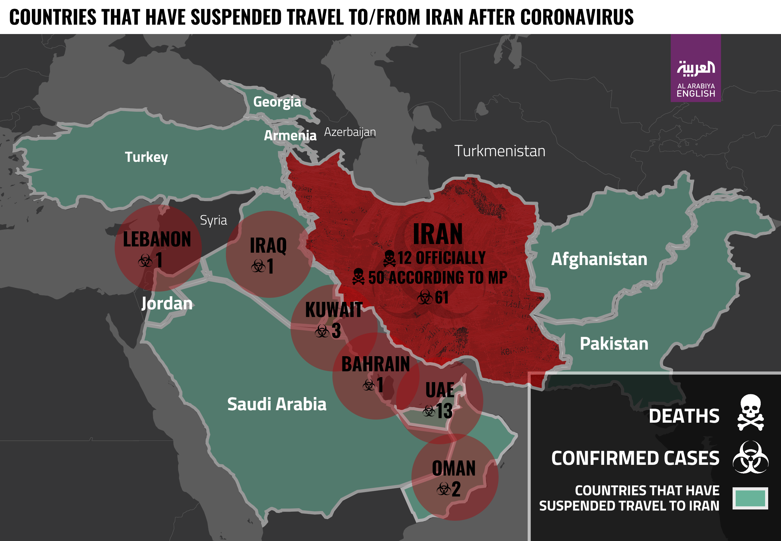 Countries that have suspended travel to/from Iran after Coronavirus mismanagement