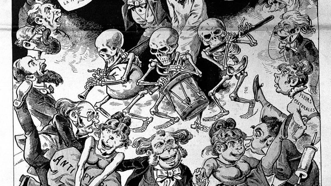 رسم كاريكاتيري فرنسي ساخر حول انتشار الأنفلونزا الروسية