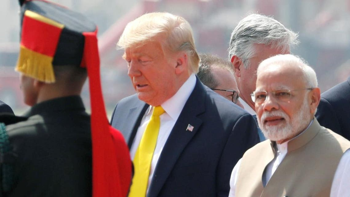 US President Donald Trump is welcomed by Indian Prime Minister Narendra Modi as he arrives at Sardar Vallabhbhai Patel International Airport in Ahmedabad, India February 24, 2020. (Photo: Reuters)