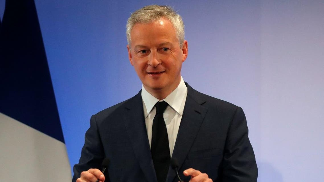 French Finance Minister Bruno Le Maire speaks during his New Year address to France's economic actors and the press at the Bercy Finance Ministry in Paris, France, January 7, 2020. (Reuters)