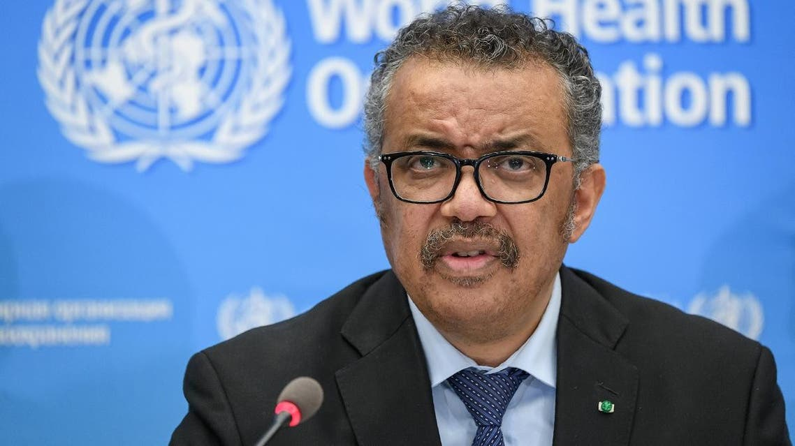 World Health Organization (WHO) Director-General Tedros Adhanom Ghebreyesus gives a press conference on the situation regarding the COVID-19 at Geneva's WHO headquarters on February 24, 2020. (AFP)