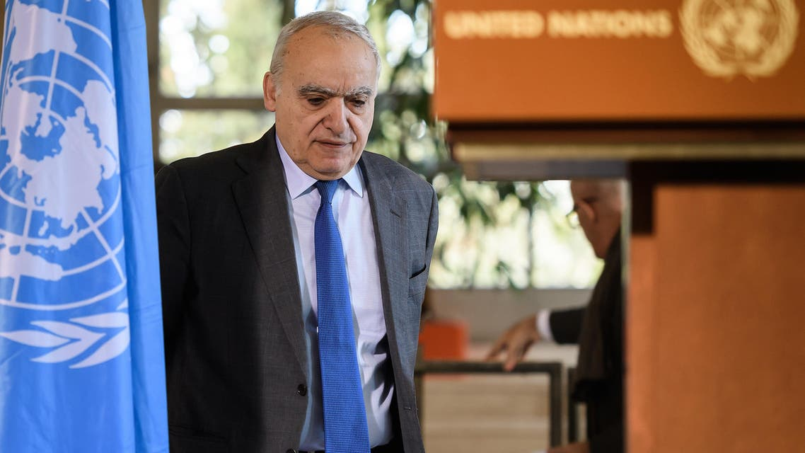 UN Envoy for Libya Ghassan Salame hold a press briefing during UN-brokered military talks on February 18, 2020 in Geneva. (AFP)