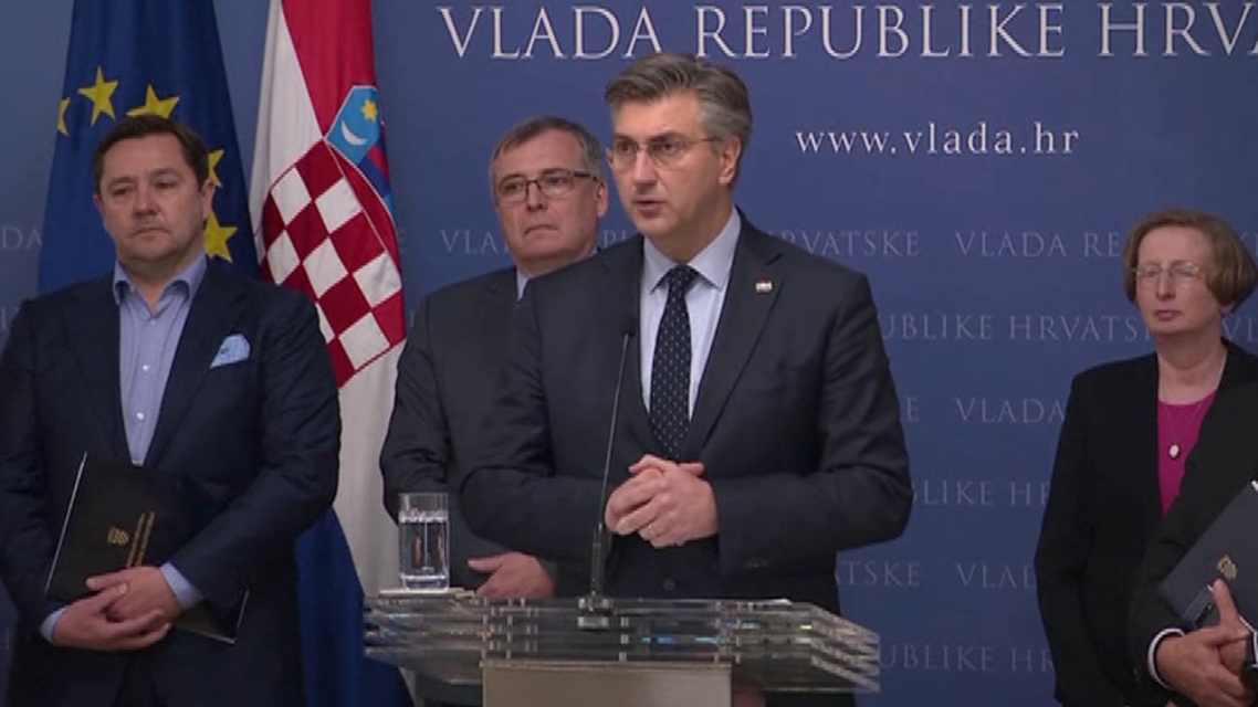 Croatian Prime Minister Andrej Plenkovic announcing first confirmed case of coronavirus in Croatia. (Reuters)