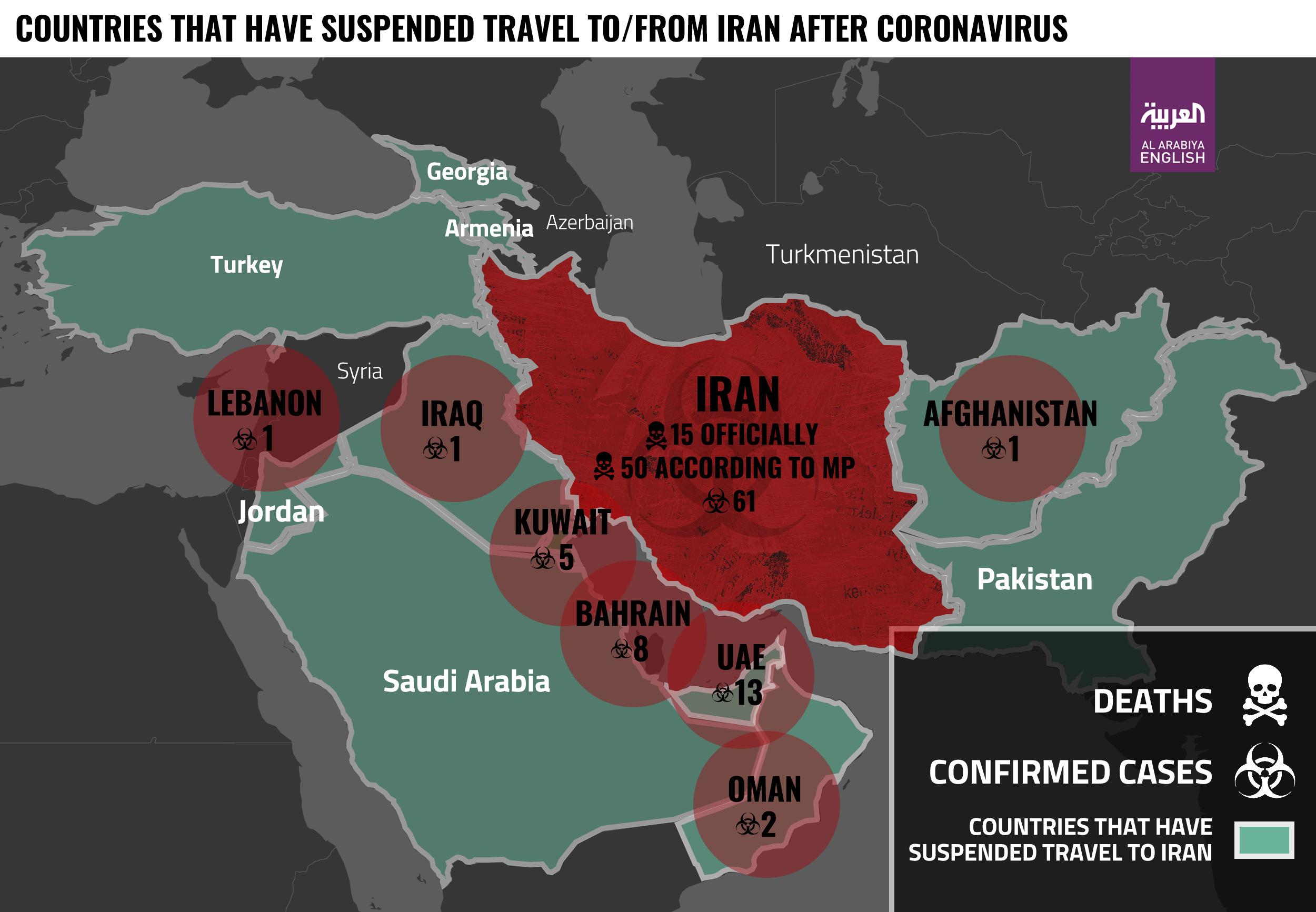 Coronavirus Iran Map Infographic