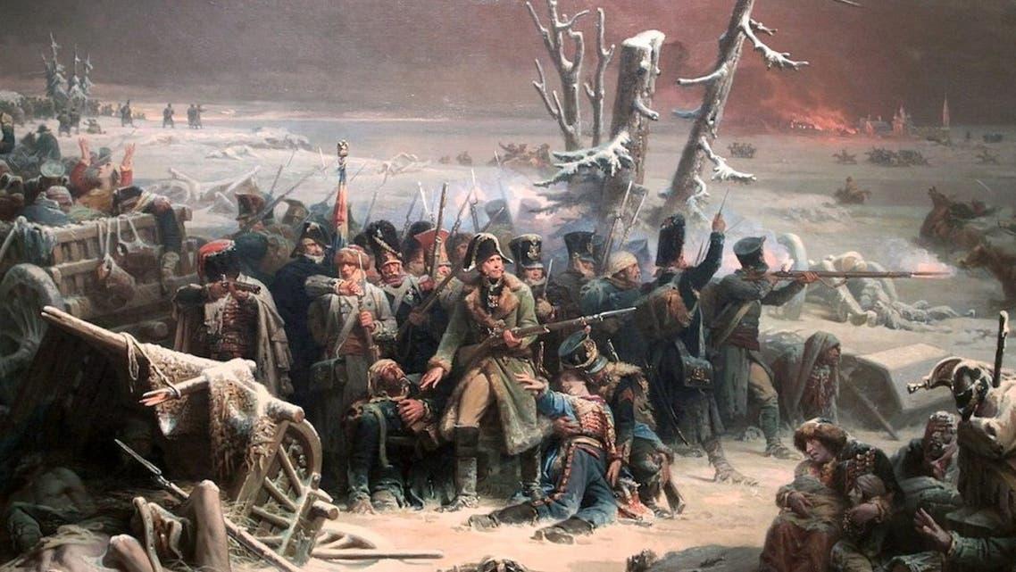 لوحة تجسد قوات نابليون أثناء فرارها من روسيا